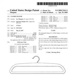Patent for a clothes hanger