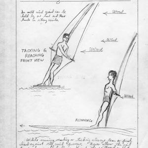 Illustration on how to stand on a sailboard, from Darbys notebook