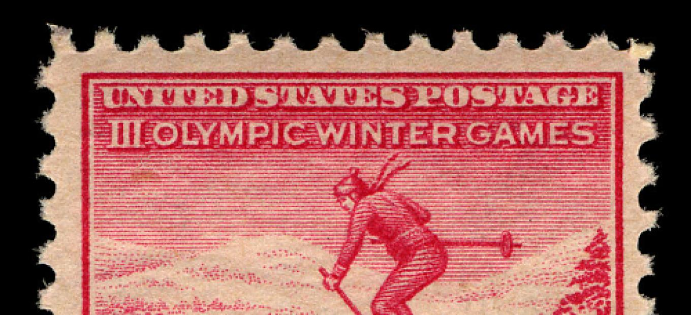 US stamp commemorating the 1932 Winter Olympic Games.