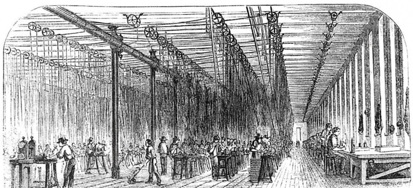 Illustration of the interior of Colt Armory, ca 1857