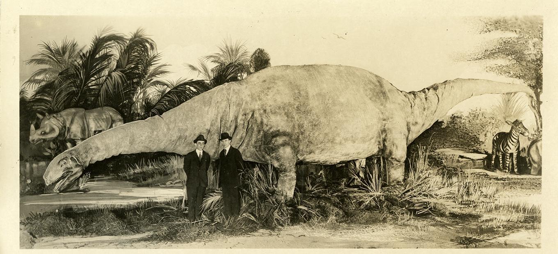 Postcard, Amphibious Dinosaur Brontosaurus, 1933
