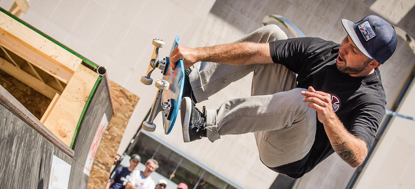 Pro skateboarder Kyle Berard skates the mini ramp at Innoskate outside of the American History Museum