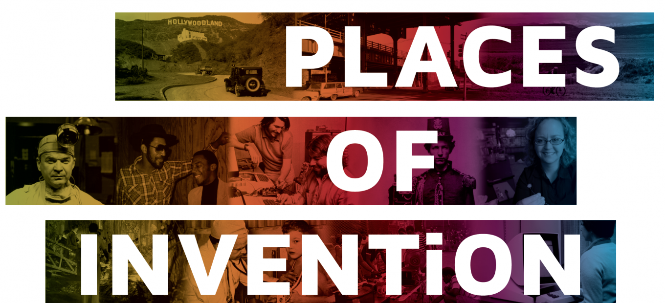 Places of Invention logo featuring archival photos of inventors and places