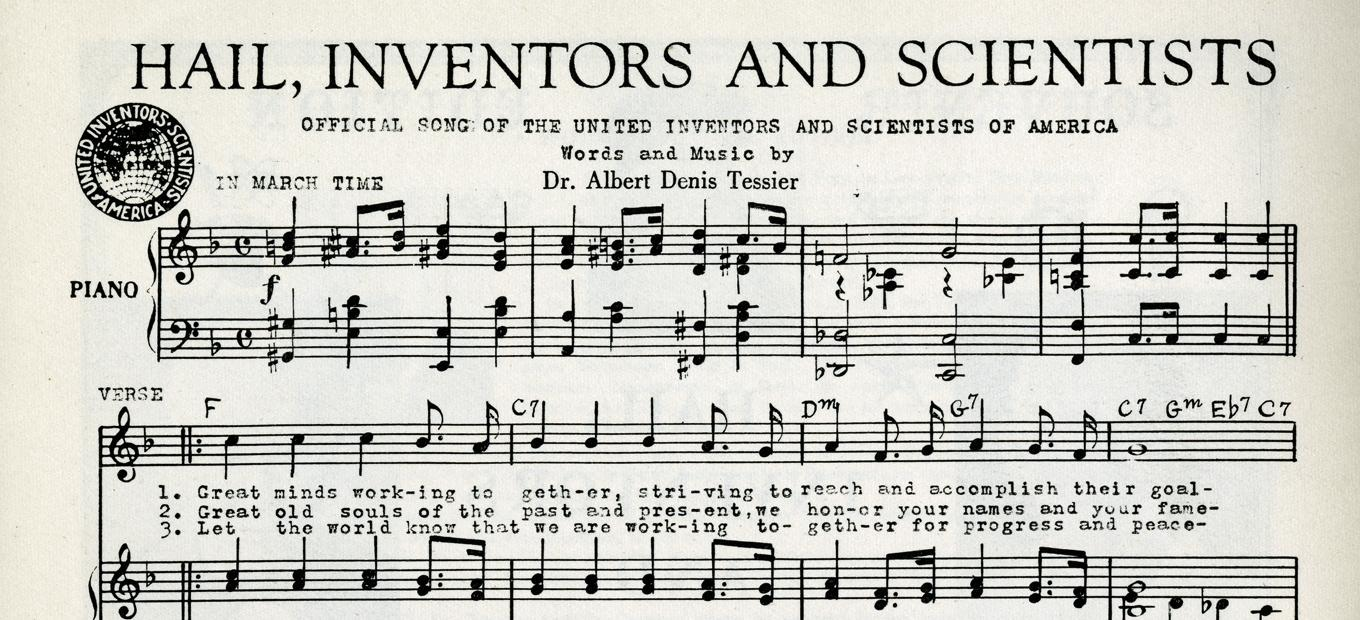 Detail of sheet music for Hail, Inventors and Scientists, 1963, showing title and first two stanzas of musical notes