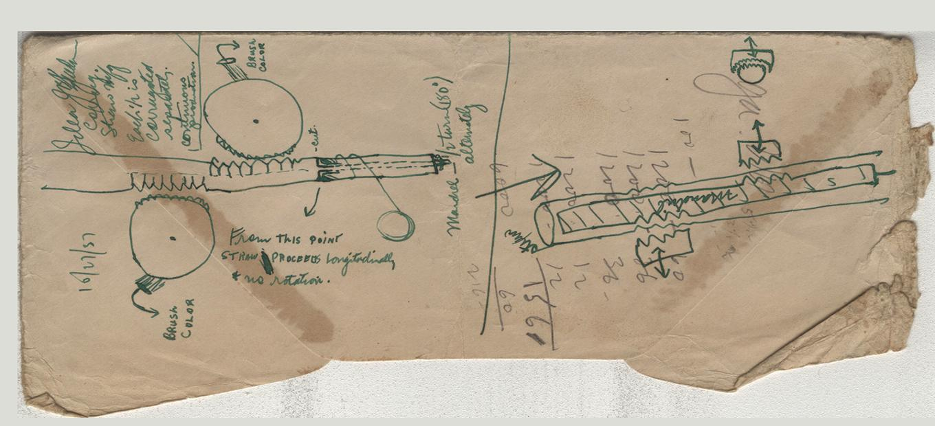Torn business-size envelope with concept sketches in green ink with pencil and ink annotations for manufacturing flexible drinking straws, [October 27, 1937]