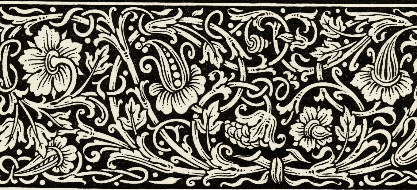 Detail from a typography layout kit, showing swirling vines and flowers in and arts-and-crafts style that could be used as a border in advertising publications.