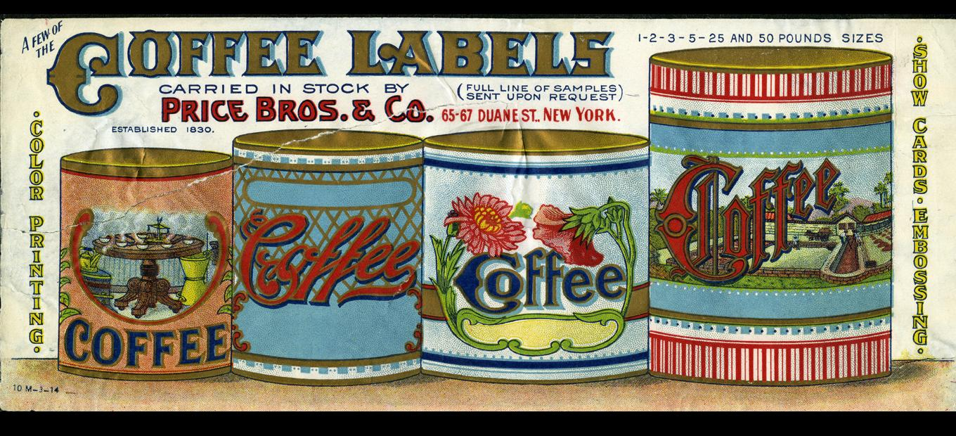 Lithograph color coffee labels by Price Bros. and Co.