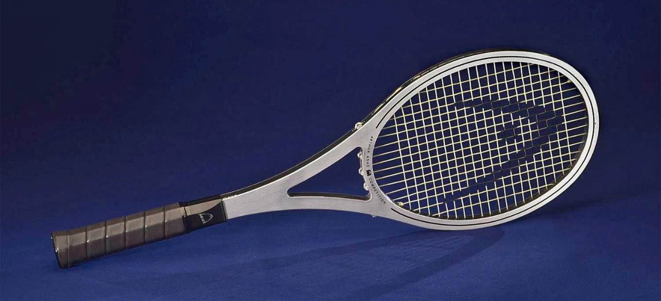 Close-up of Arthur Ashe's Prince tennis racket
