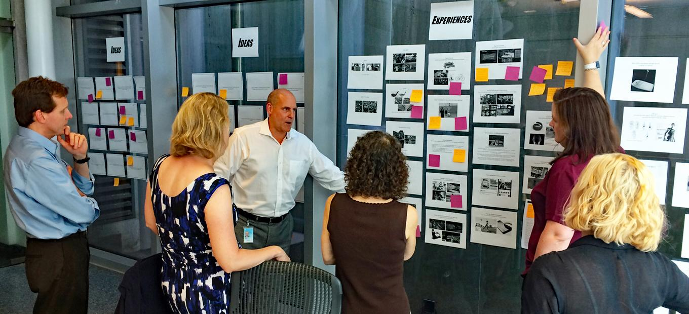 4 women and 1 man contemplate a window wall covered with sheets of paper while another man points to one and discusses with the group. The papers are grouped under the titles Ideas and Experiences. Each letter-size paper has images and text that are too small to discern in the photo.