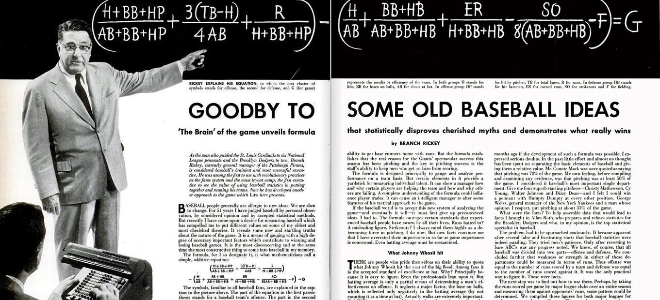 "Two-page spread from Life magazine of article, ""Goodby to Some Old Baseball Ideas"""