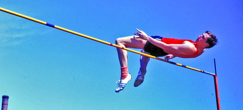 Dick Fosbury in mid-jump
