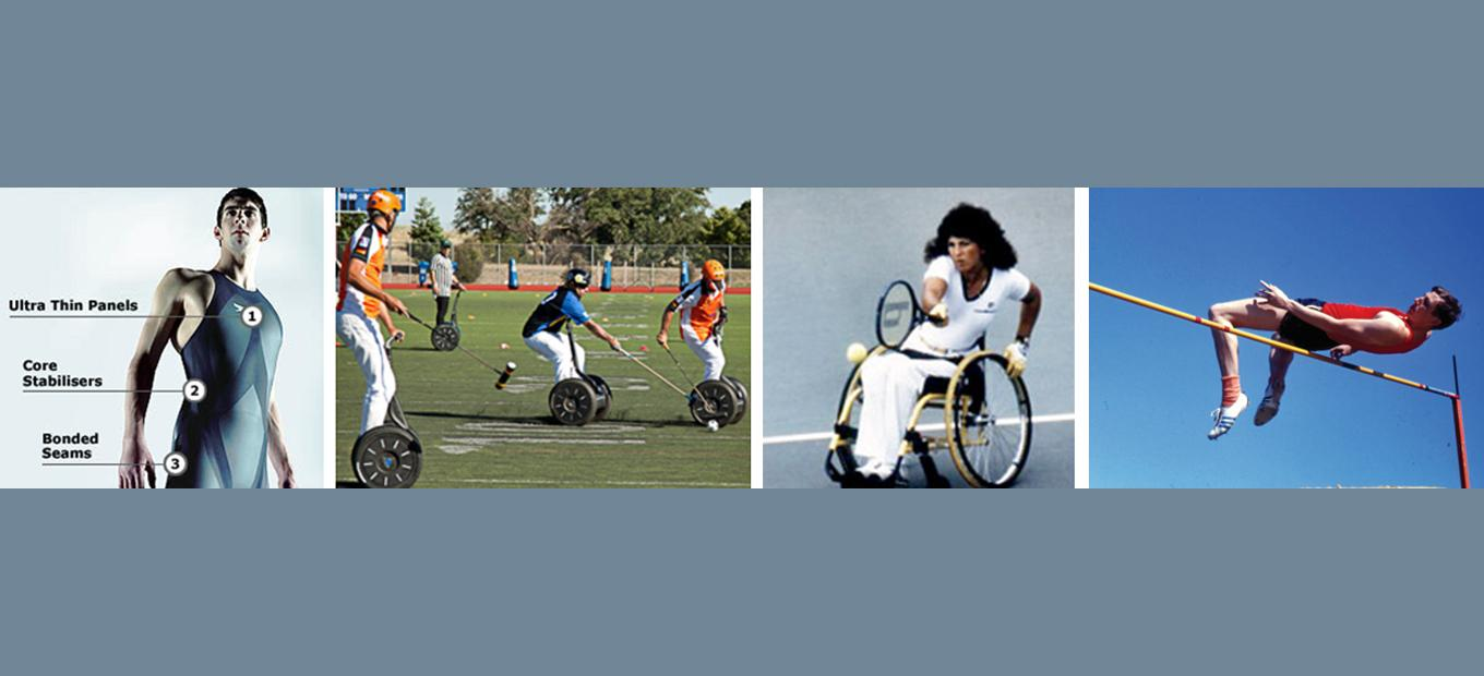 4 photos in a row show, left to right, swimmer Michael Phelps wearing a Speedo LZR swimsuit, a group of men playing polo while riding Segways, Marilyn Hamilton playing tennis in her ultralight sports wheelchair, and a high jumper executing the head first, back-to-the-bar Fosbury Flop technique.