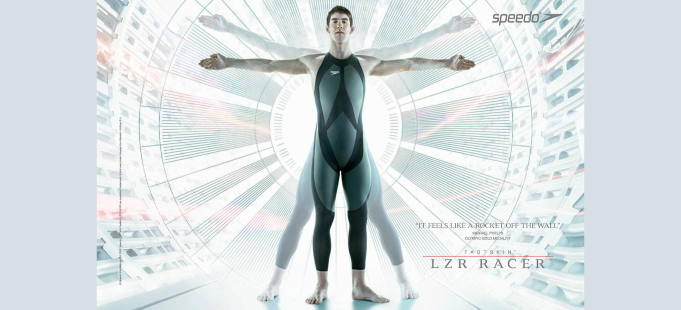 Swimmer Michael Phelps in his LZR suit, posing like Leonardo's Vitruvian Man drawing