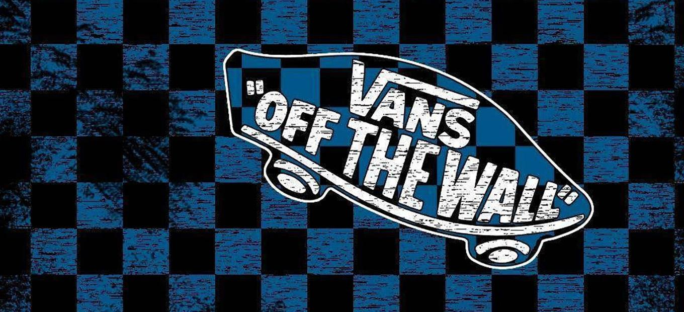 Black-and-blue checkered background with Vans Off the Wall skateboard logo