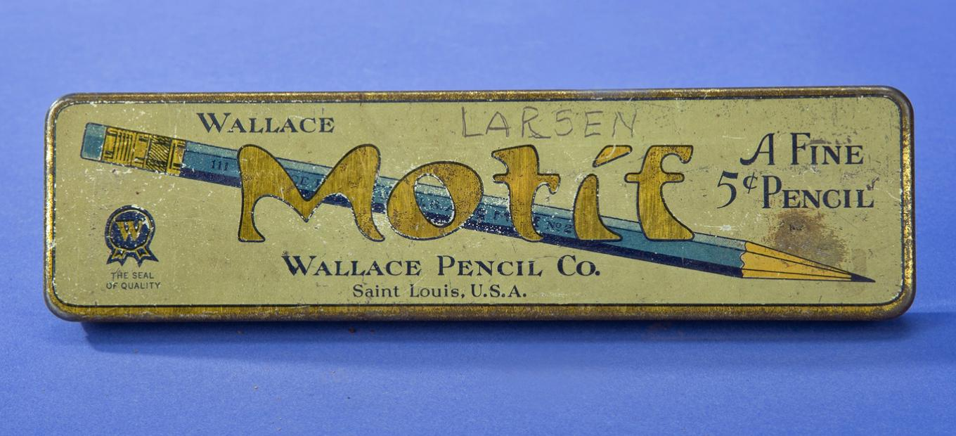 Wallace Pencil Co metal box for Motif pencil, with art nouveau style lettering