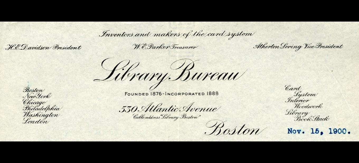 Stationery masthead for Library Bureau listing address,offices, officers, etc.