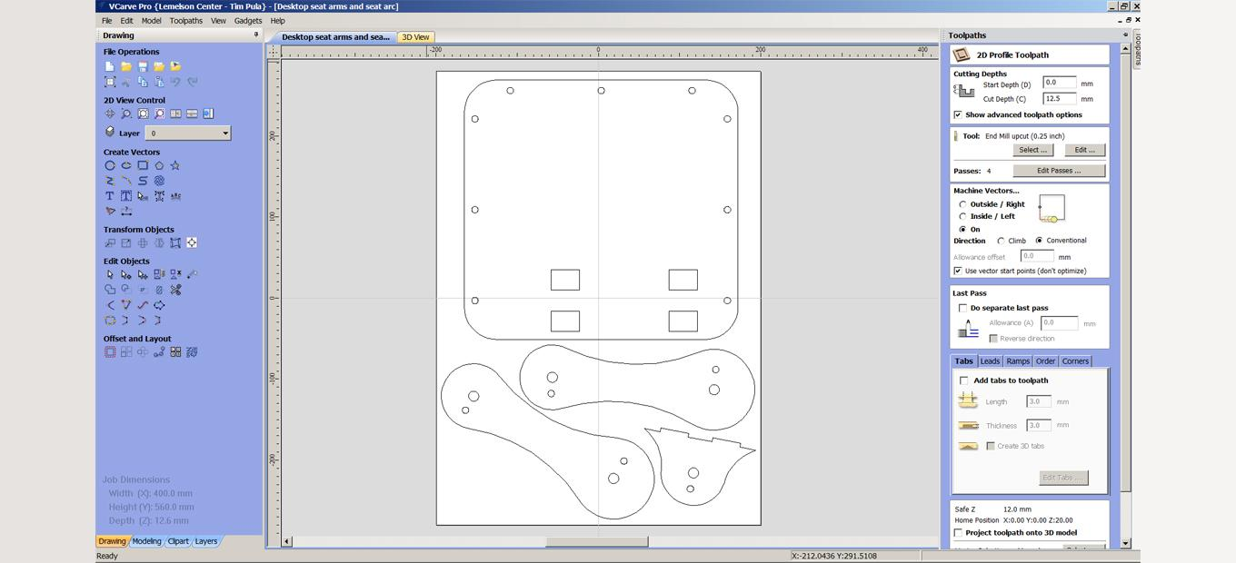 Screenshot of CNC software with chari part designs