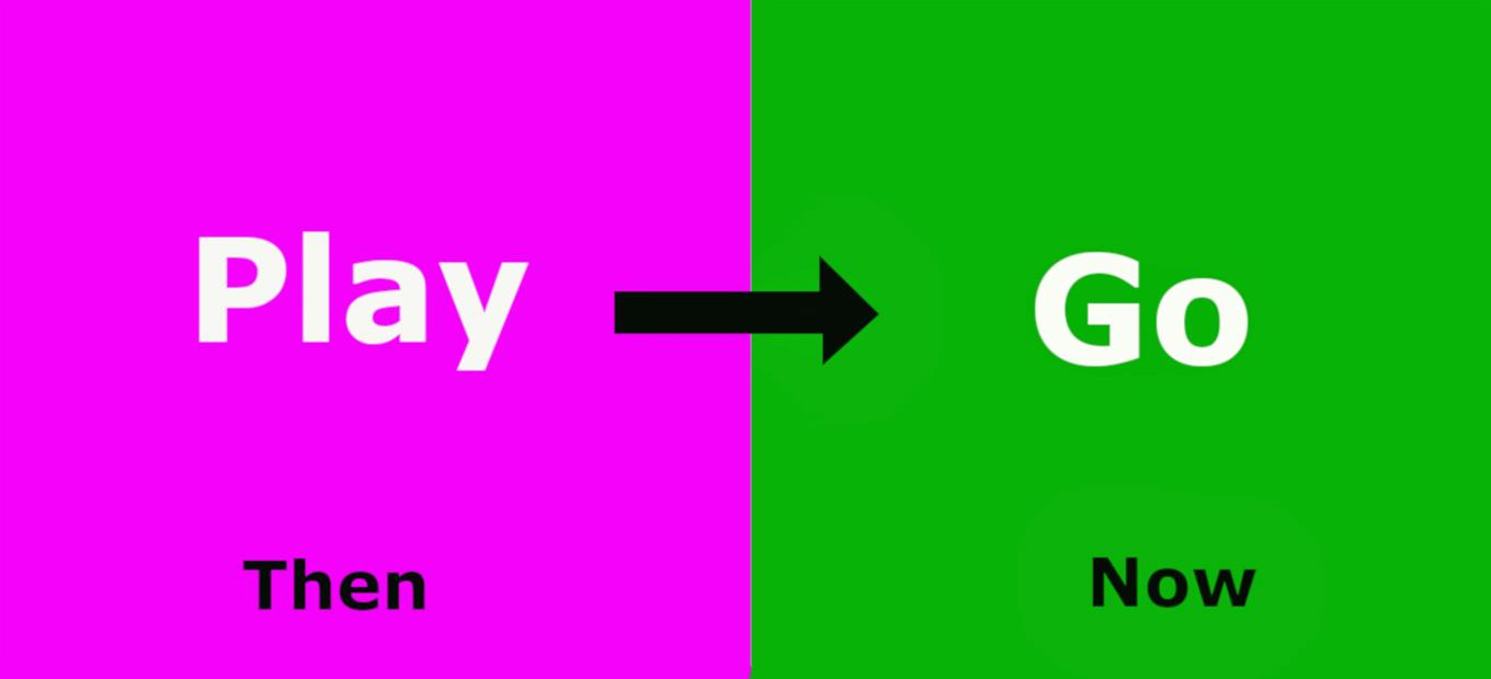 A pink square on the left with the word PLAY in the center and the word THEN at the bottom, and a green square on the right with the word GO in the center and the word NOW on the bottom. A black arrow connects the boxes and points from PLAY to GO.