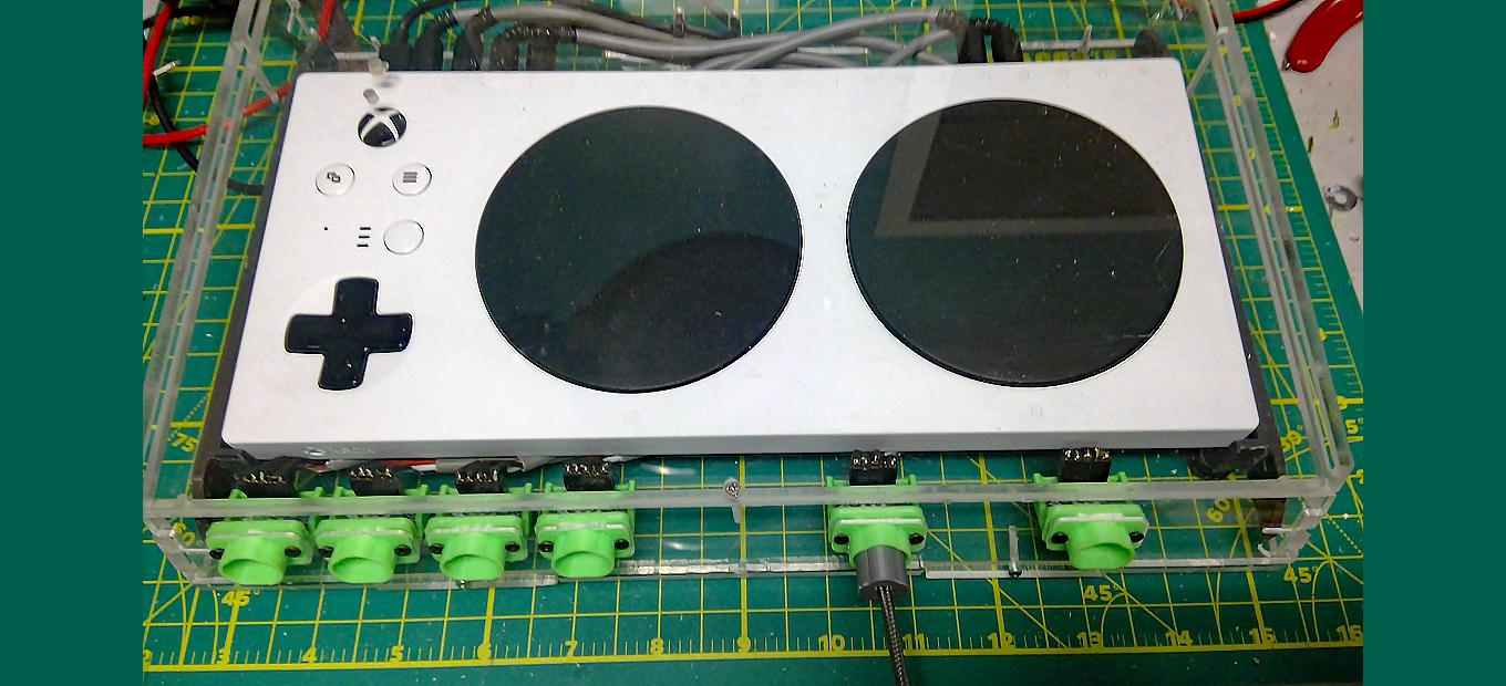 Microsoft adaptive controller with custom magnetic connectors installed.