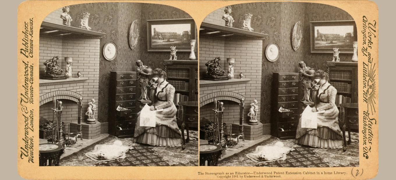 Stereograph comprising two images of a woman sitting in a Victorian parlor, next to a fireplace, viewing a stereoscope. There is a cabinet of stereographs and a framed photo of the Coliseum behind her, a fox rug on the floor, and statues on the fireplace.