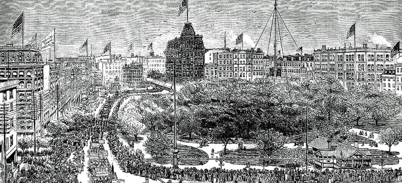 Lithograph of 1882 Labor Day parade in New York City showing long lines of people marching around a square, waving banners and flags