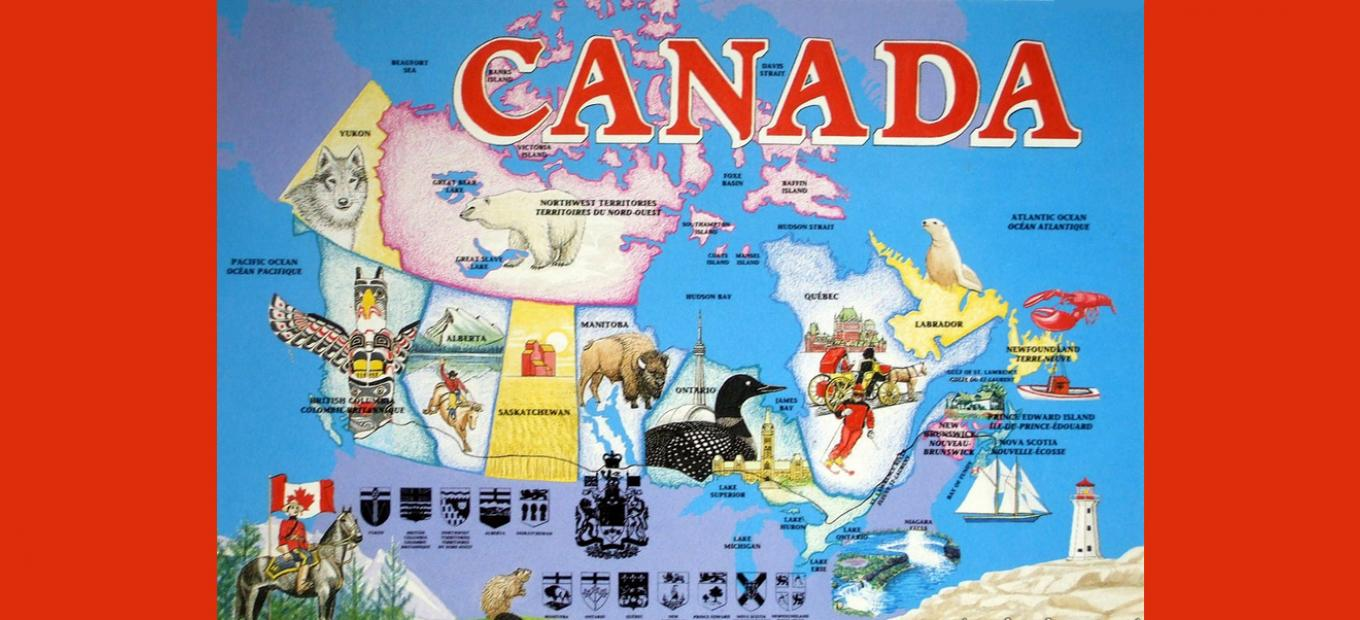 Cartoon-style postcard map of Canada, with images of animals (including a beaver, bison, loon, seal, polar bear, wolf, and a lobster), landmarks (including Niagara Falls), and activities typical of each province or territory (e.g., skiing for Quebec).