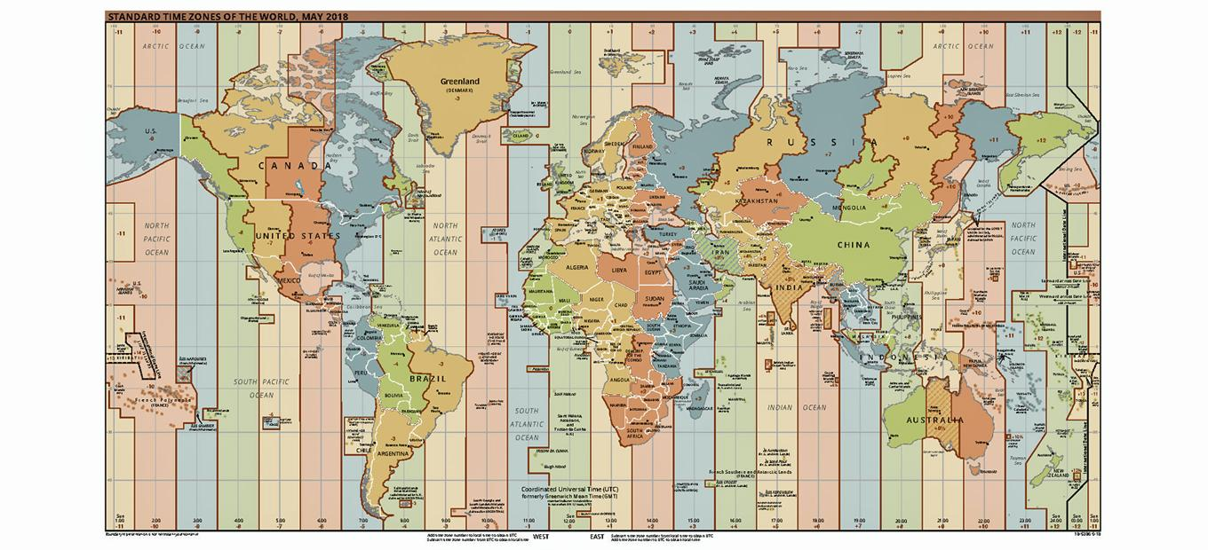 Detailed, color-coded map of worldwide time zones