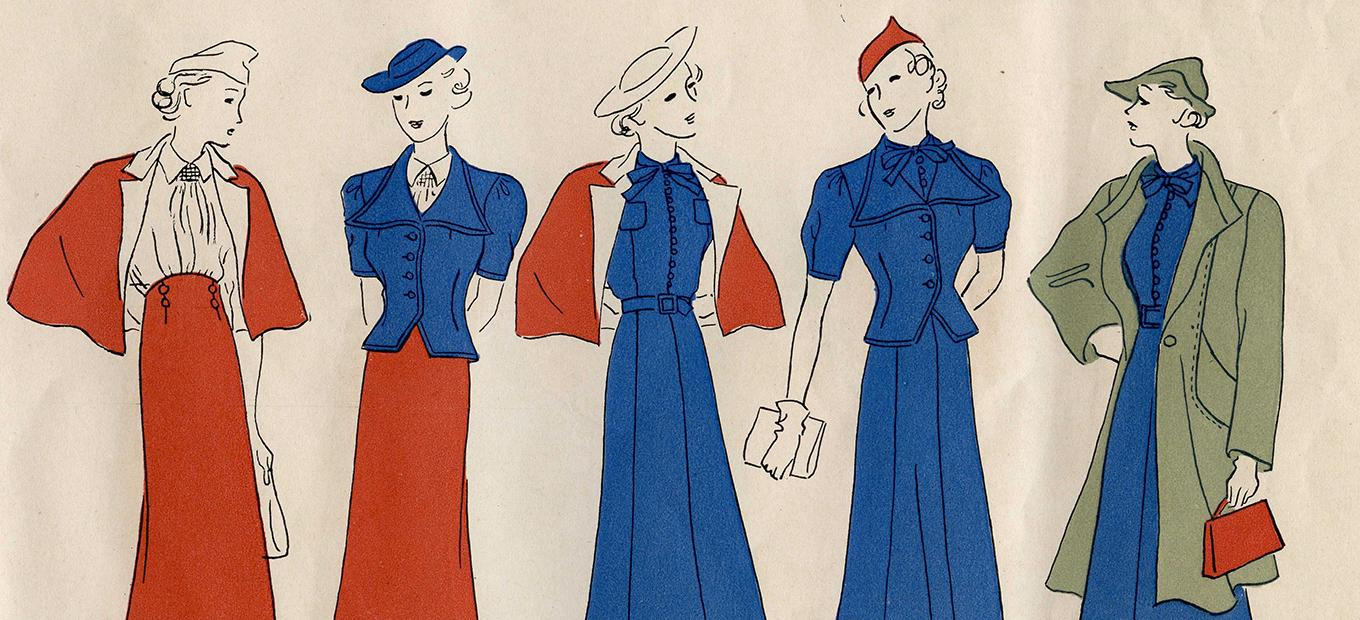 Stylized drawings of 5 women wearing various designs from the Vogue Pattern Book, 1937