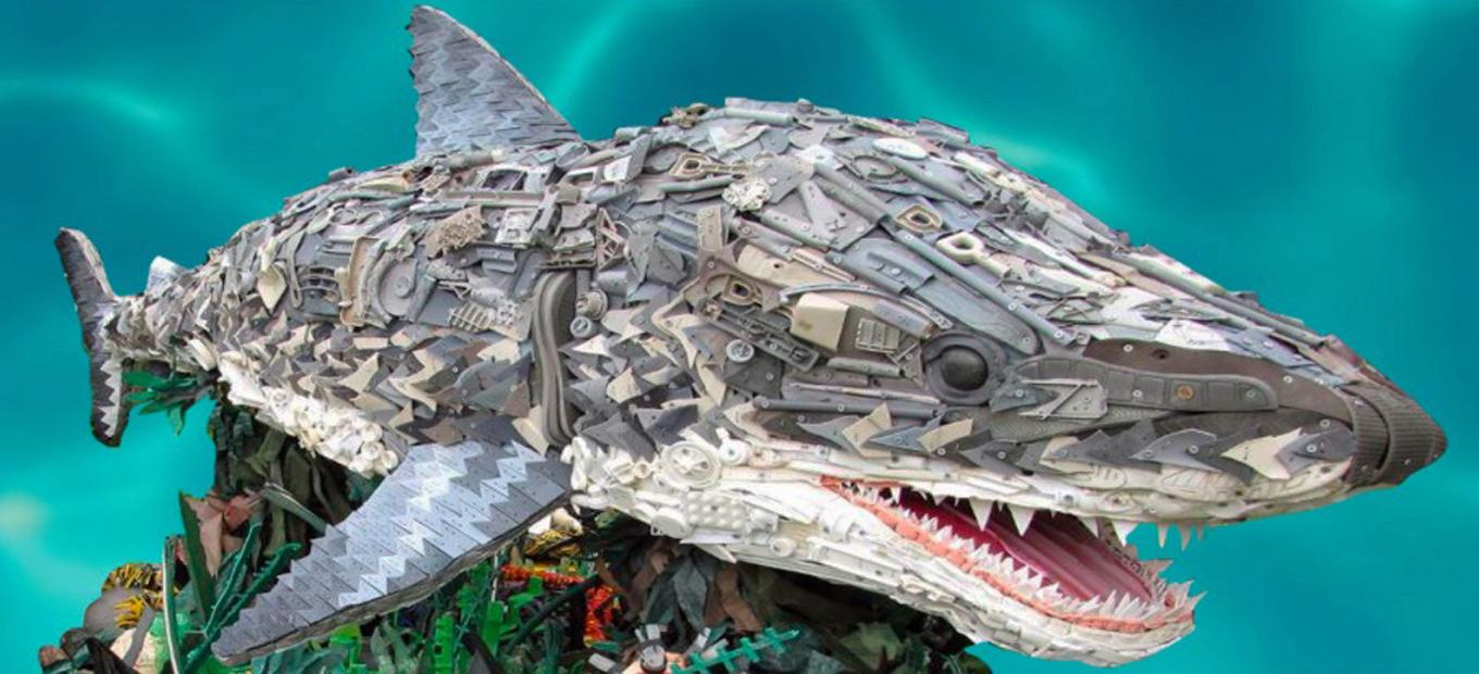 Shark sculpture created by Washed Ashore team