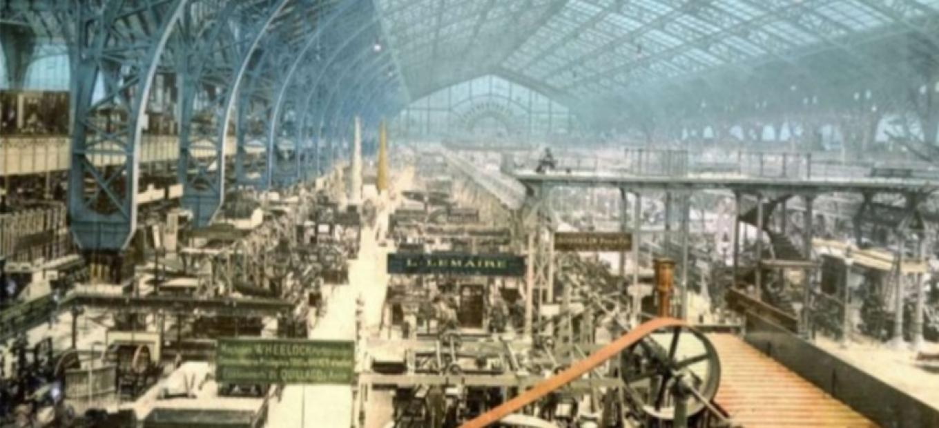 Interior view of the Gallery of Machines, Exposition universelle internationale de 1889, Paris, France. Courtesy the Library of Congress