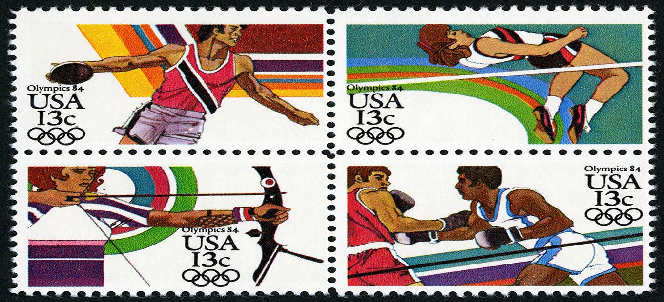 Set of four 1984 Olympic 13 cent stamps