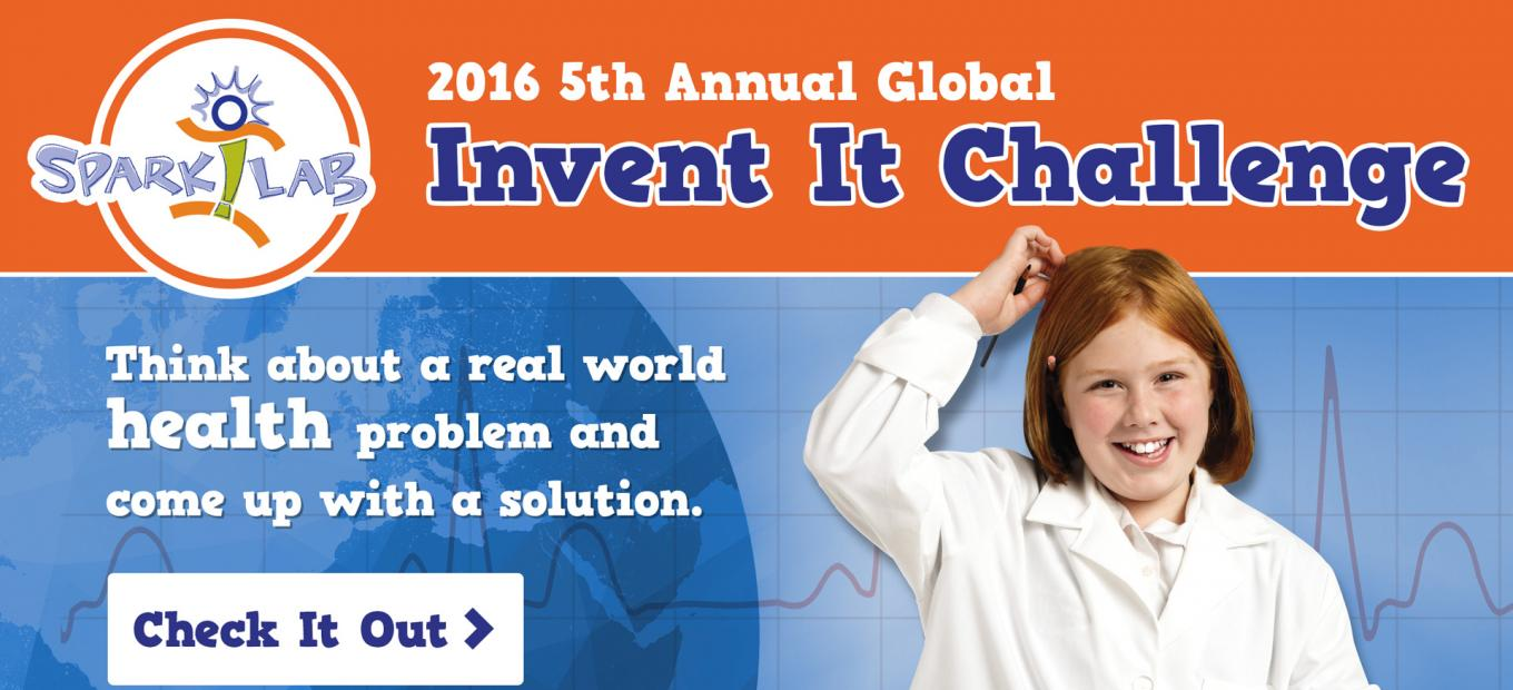 Graphic with young girl inventor advertising Invent It Challenge