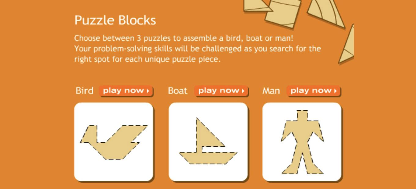 Start screen for Puzzle Blocks game