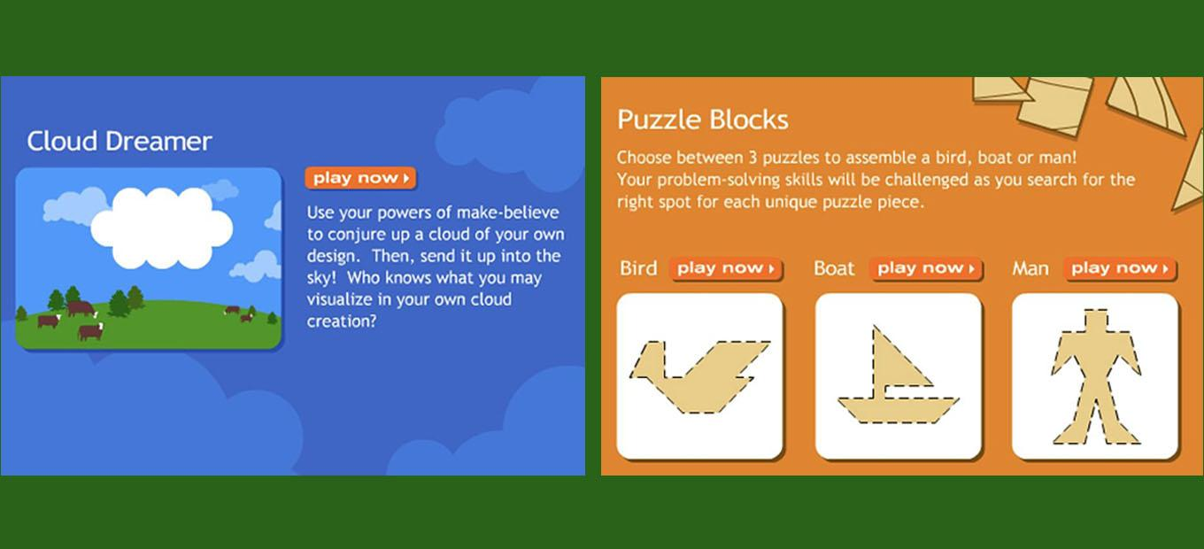 Attract screens for Cloud Dreamer and Puzzle Blocks games