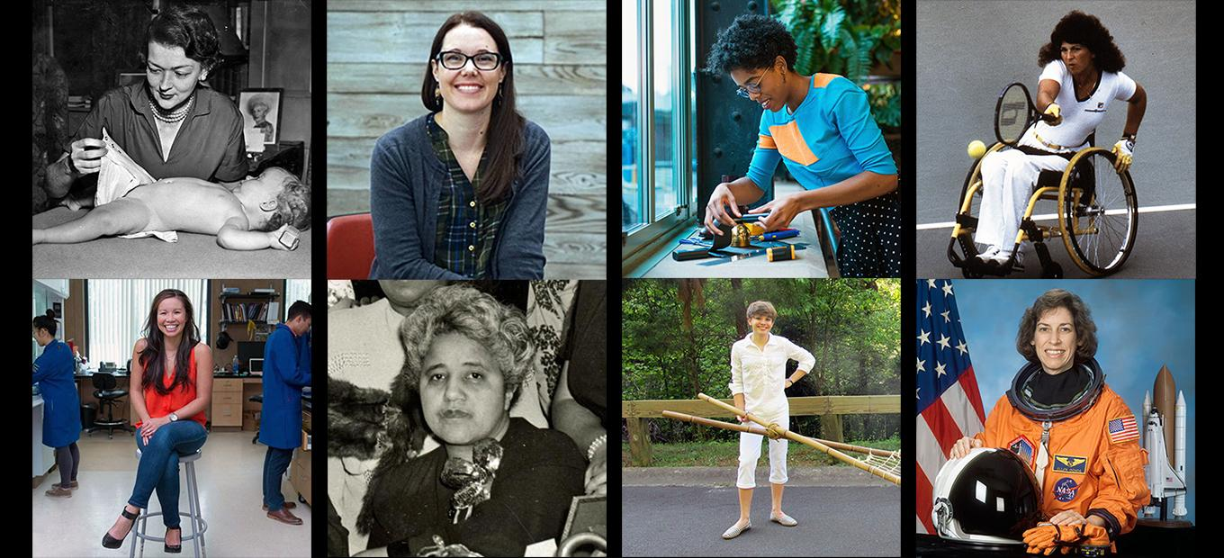 Montage of photos of 8 women inventors