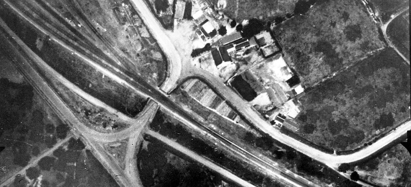 An aerial reconnaissance photo taken using Edgerton's strobe system