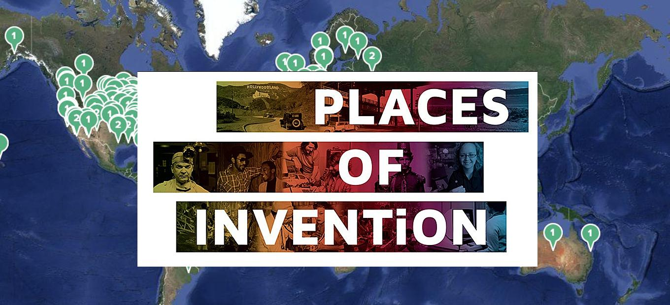 Places of Invention exhibition logo over world map