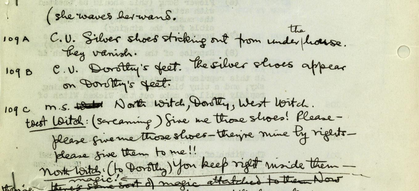 Section of the original Wizard of Oz script where Dorothy's slippers are described as silver