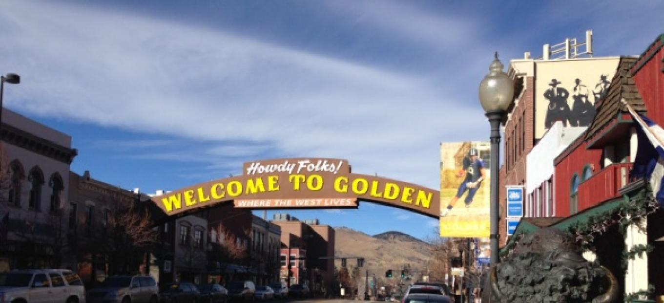 A grand arch spanning the town's main street welcomes all to Golden.