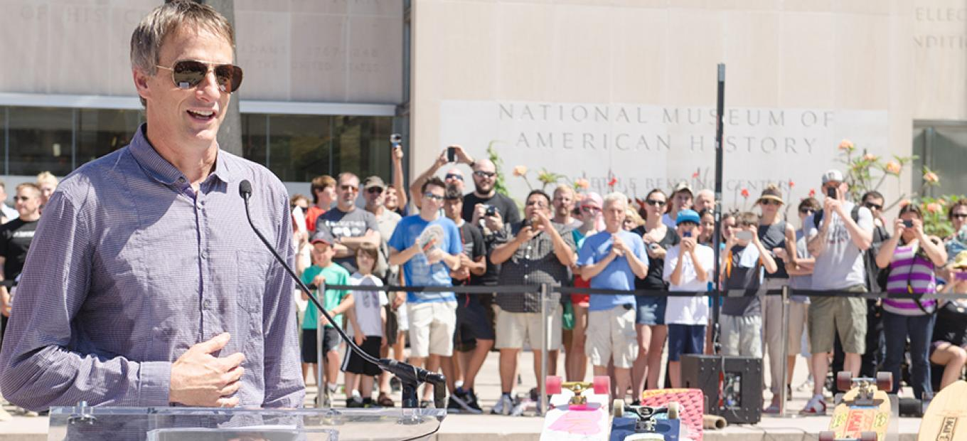 Tony Hawk donates his first skateboard to the National Museum of American History during Innoskate 2013
