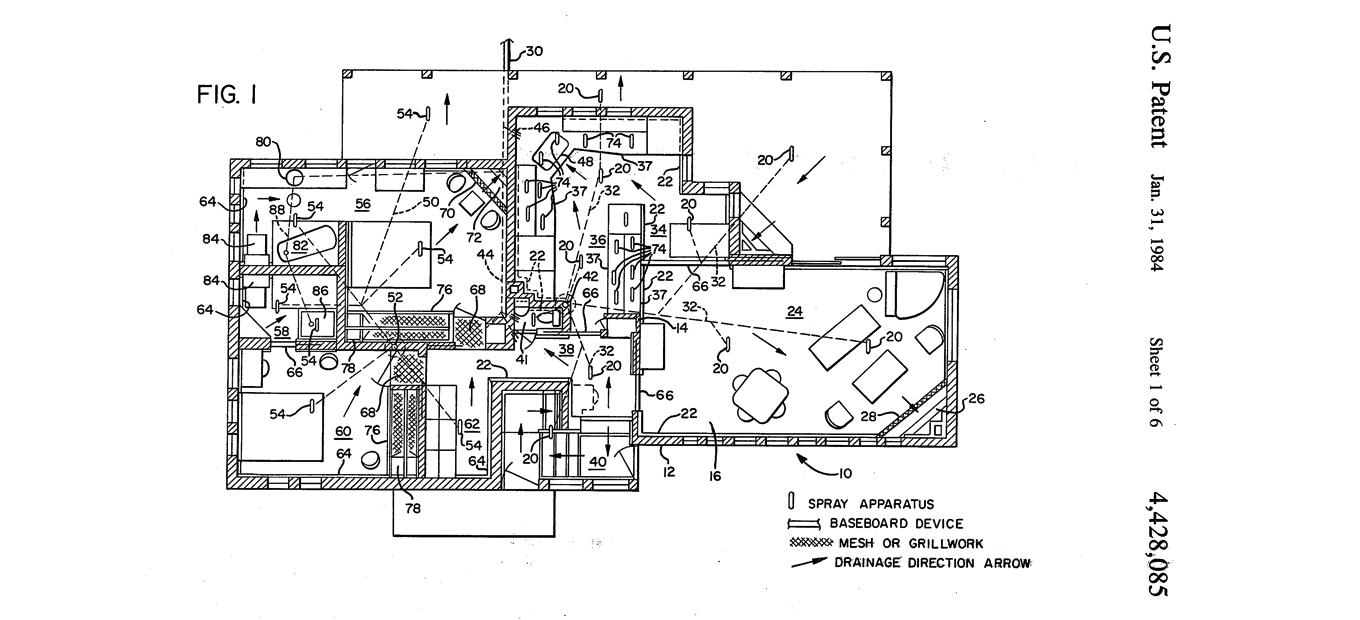 Figure 1 of US Patent 4,428,085 showing floorplan for self-cleaning house invented by Frances Gabe