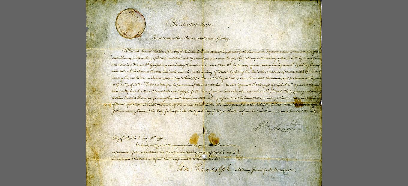 Handwritten first patent, signed by George Washington