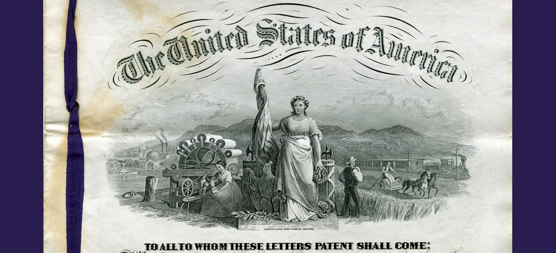 Lithograph US Patent masthead 1870s