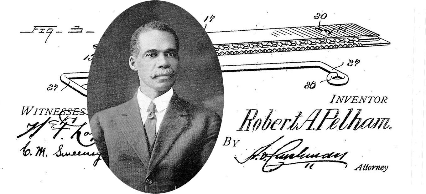 Composite image of portrait of Robert Pelham and detail from patent drawing