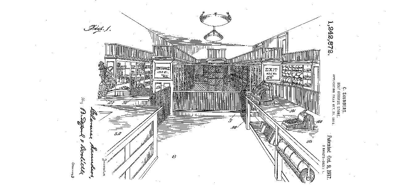 Figure 1, perspective view of store, US Patent 1,242,872
