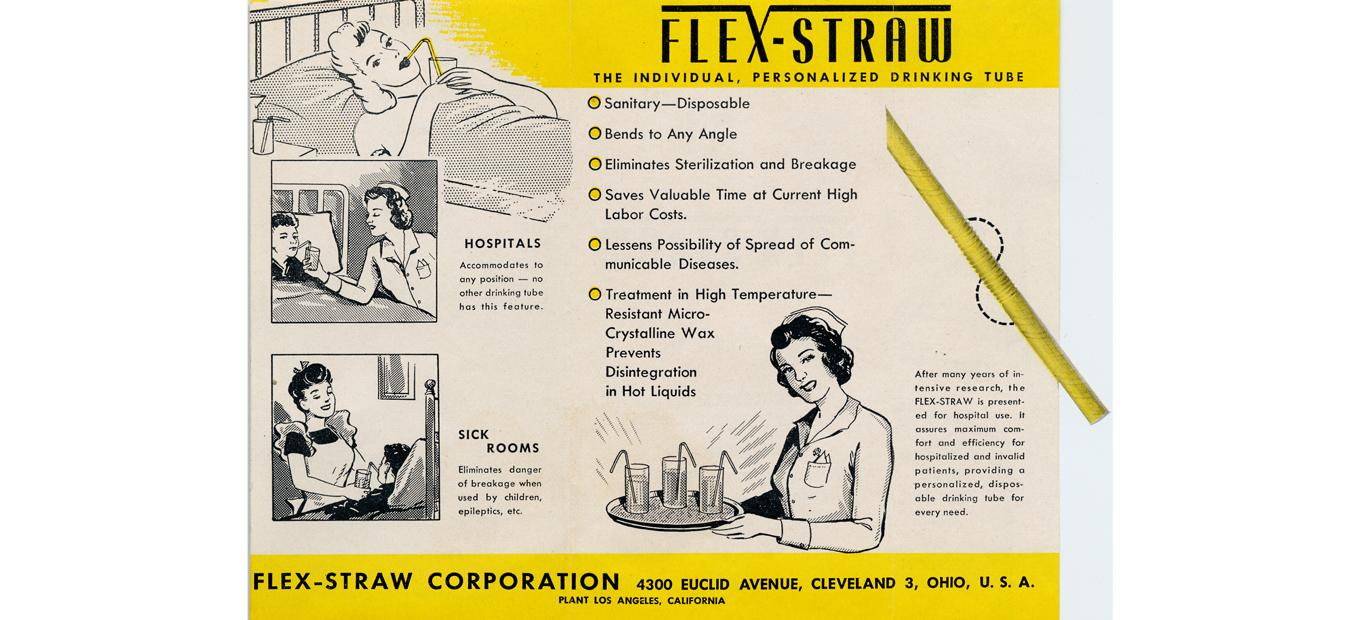 Advertisement for flexible drinking straws
