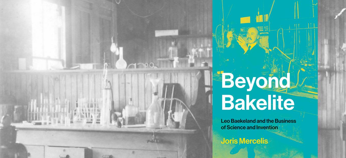 A grayed-out view of a chemical lab with and overlay of the book cover in color, showing Baekeland in his lab