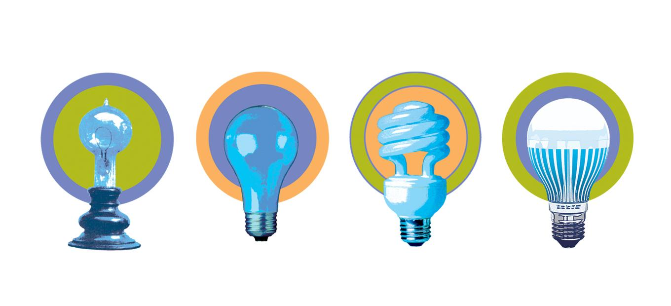 Graphic illustration of 4 stylized light bulbs. Left to right: Edison incandescent lamp; contemporary incandescent bulb; compact fluorescent bulb, LED bulb