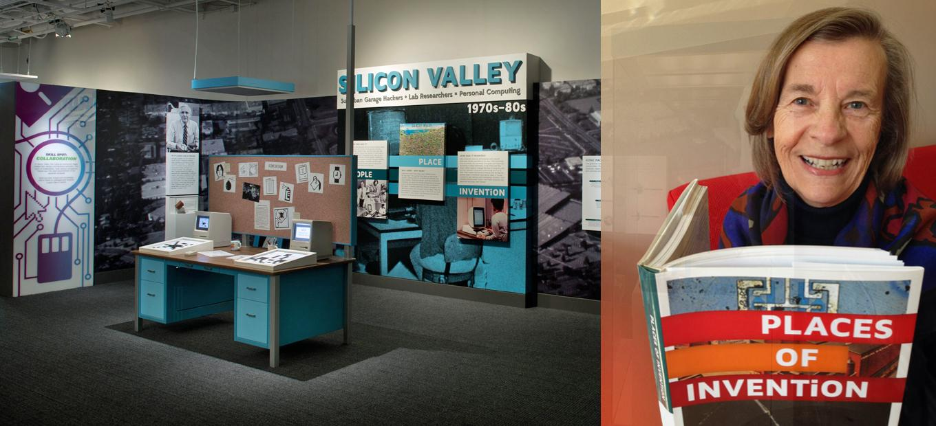View of the Silicon Valley section of the Places of Invention exhibition, with an inset of Chris Peterson holding a copy of the Places of Invention book