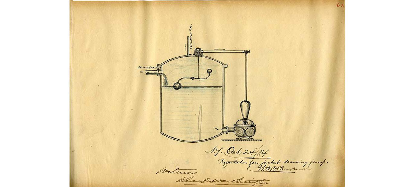 Sketch of regulator for jacket driving pump by William A. Bicknell, October 24, 1894.  Worthington Pump and Machinery Corporation Records (AC0916-0000003)